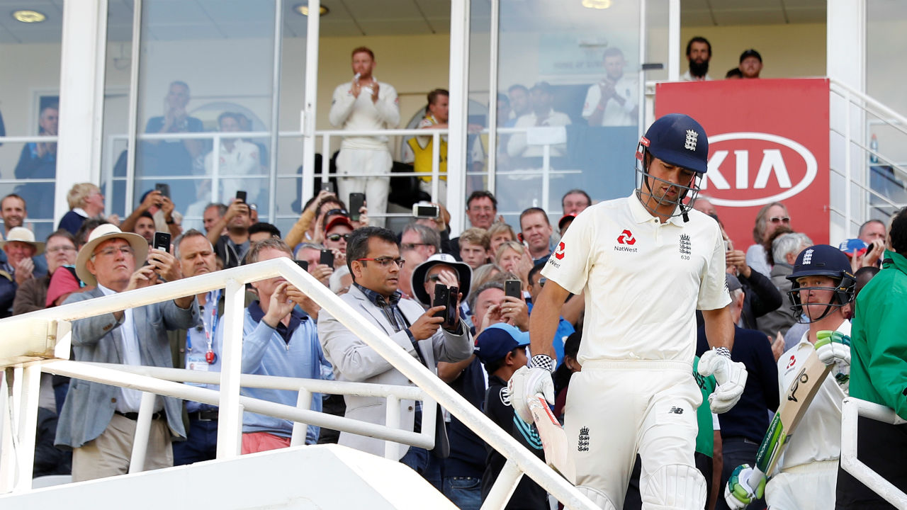 Start of England's second innings meant that Alastair Cook walked out to bat for 'The Three Lions' for one last time. As the left handed batsman walked out to bat in sunlight at The Oval he was given a standing ovation by the crowd. (Image: Reuters)