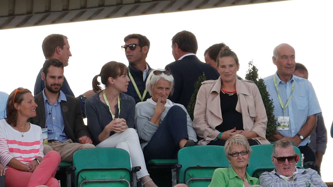 Alice Cook (second from right) was spotted by the photographers at The Oval. Alice Cook was in the stands to cheer her husband Alastair as the English cricketer took stance for his final international Test match. (Image: Reuters)