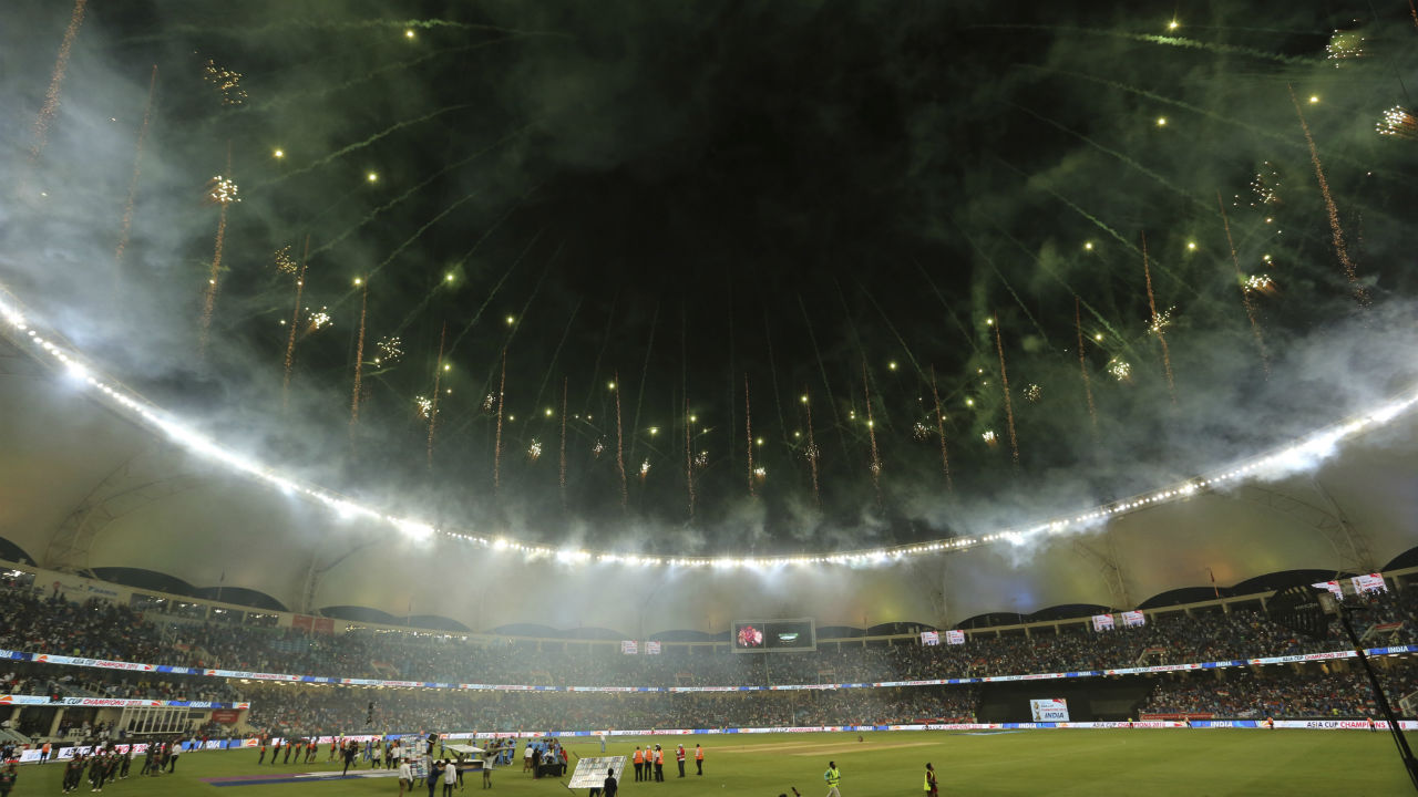 With India sealing the match and the Asia Cup, fireworks went off at the Dubai International Cricket Stadium to cap off a great tournament. (Image: AP)