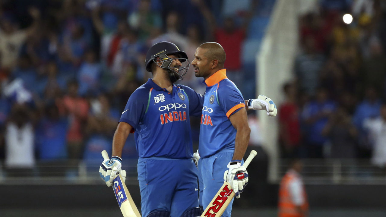 Dhawan and Sharma continued batting superbly and completed their respective centuries. Dhawan first brought his 15th ODI Ton in the 33rd over and Sharma completed his 19th ODI Ton in the 36th over as Pakistani bowlers failed to dislodge the two batsmen. Dhawan was eventually dismissed in the 34th over as India was mere 27 runs short of the target, Ambati Rayudu then along with Sharma helped the team in getting the remaining runs. (Image: AP)