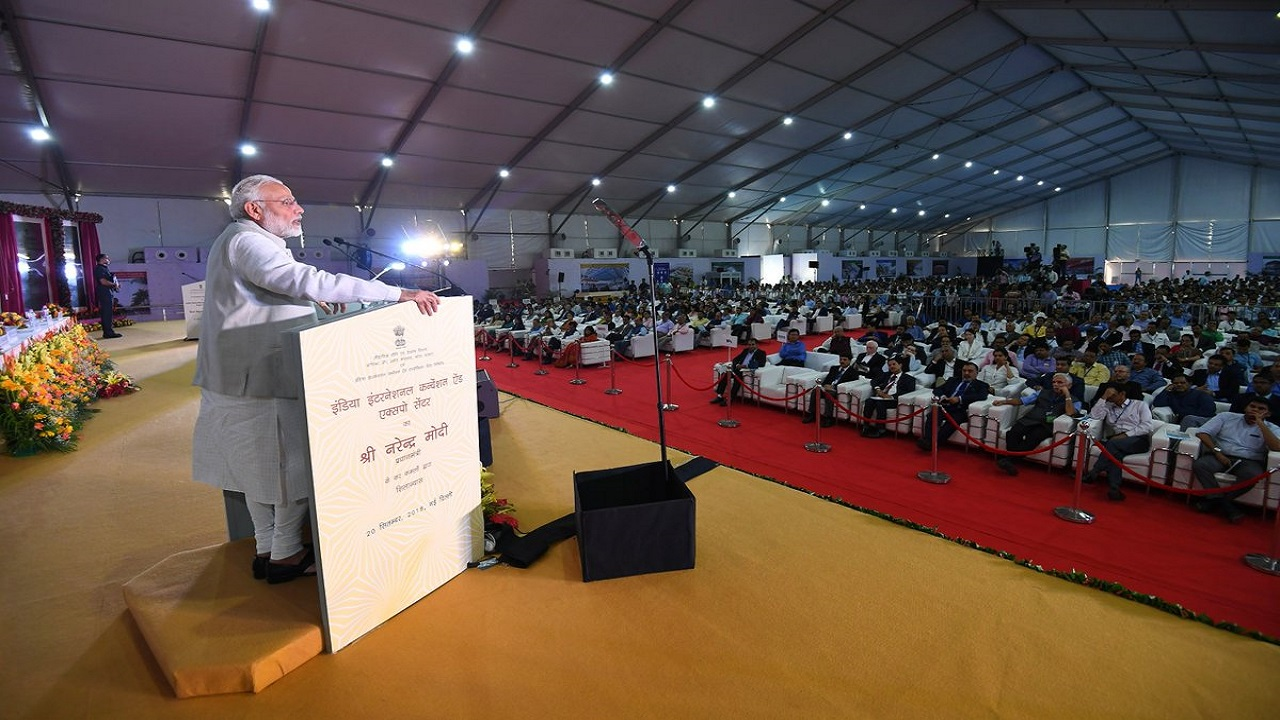"In his address, the PM said that IICC will be the ""attitude and energy"" center for 80 crore youth in India. (Image: Press Information Bureau)"