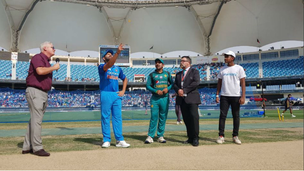 Pakistan captain Sarfraz Ahmed won the toss and opted to bat first. While Pakistan went into the highly anticipated match with the same playing XI that faced Hong Kong, India made two changes. Jasprit Bumrah and Hardik Pandya were drafted into the team for the high voltage encounter. (Image: BCCI)