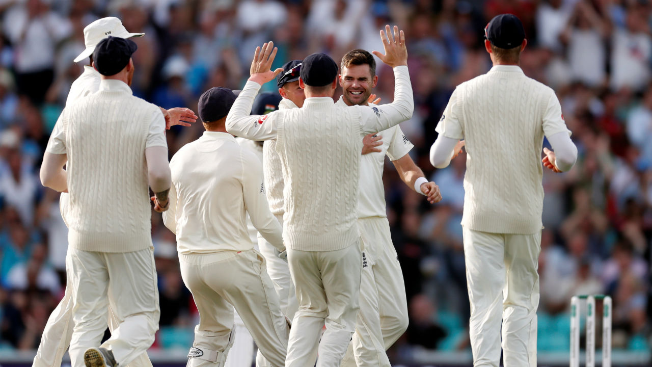 India's chase started on a wrong note as England pacer James Anderson took the wickets of Shikhar Dhawan and Cheteshwar Pujara in one over. Both batsmen were caught in front off the wickets. With Pujara's dismissal, Anderson equalled the record of Australian pacer Glenn McGrath with a tally of 563 Test wickets. (Image: Reuters)