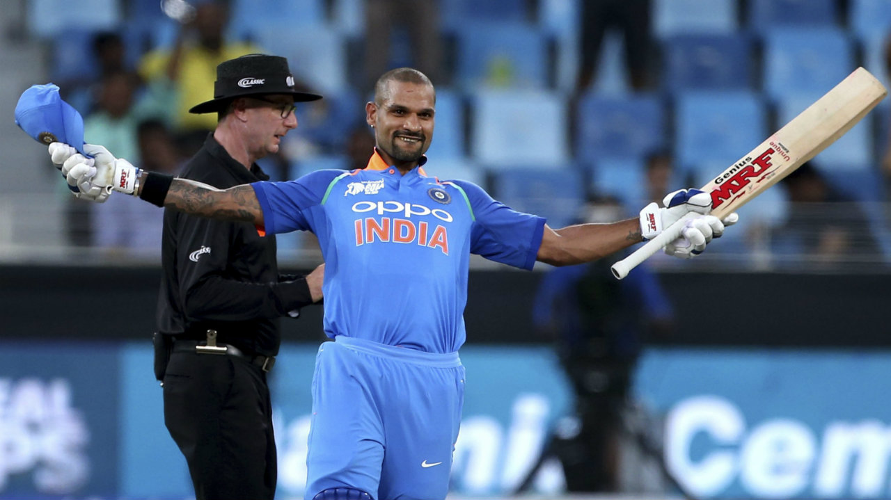 For his scintillating form with the bat right through the series, India's Shikhar Dhwan was adjudged Man of the Tournament. (Image: AP)