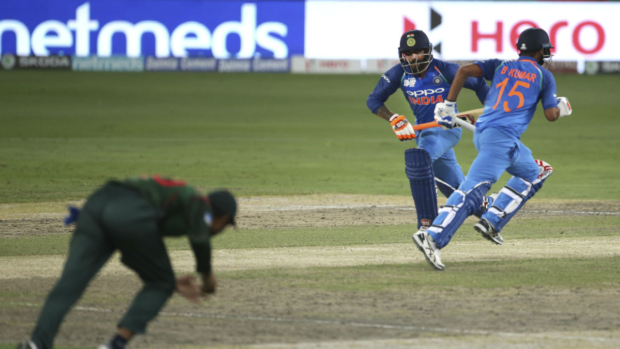 Ravindra Jadeja and Bhuvneshwar Kumar then took India close to the target with a 45-run partnership before the batsmen were dismissed by Rubel Hossain and Mustafizur Rahman respectively. (Image: AP)