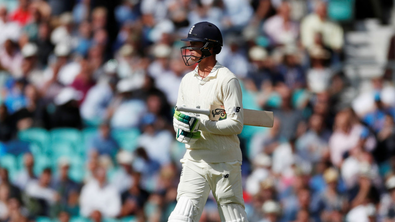 Jennings' woeful form in the series continued as he was dismissed on a personal score of 23. Jadeja sent down a straight ball to the opener who only managed to pick out KL Rahul at leg slip. England's score read 60/1. (Image - Reuters)