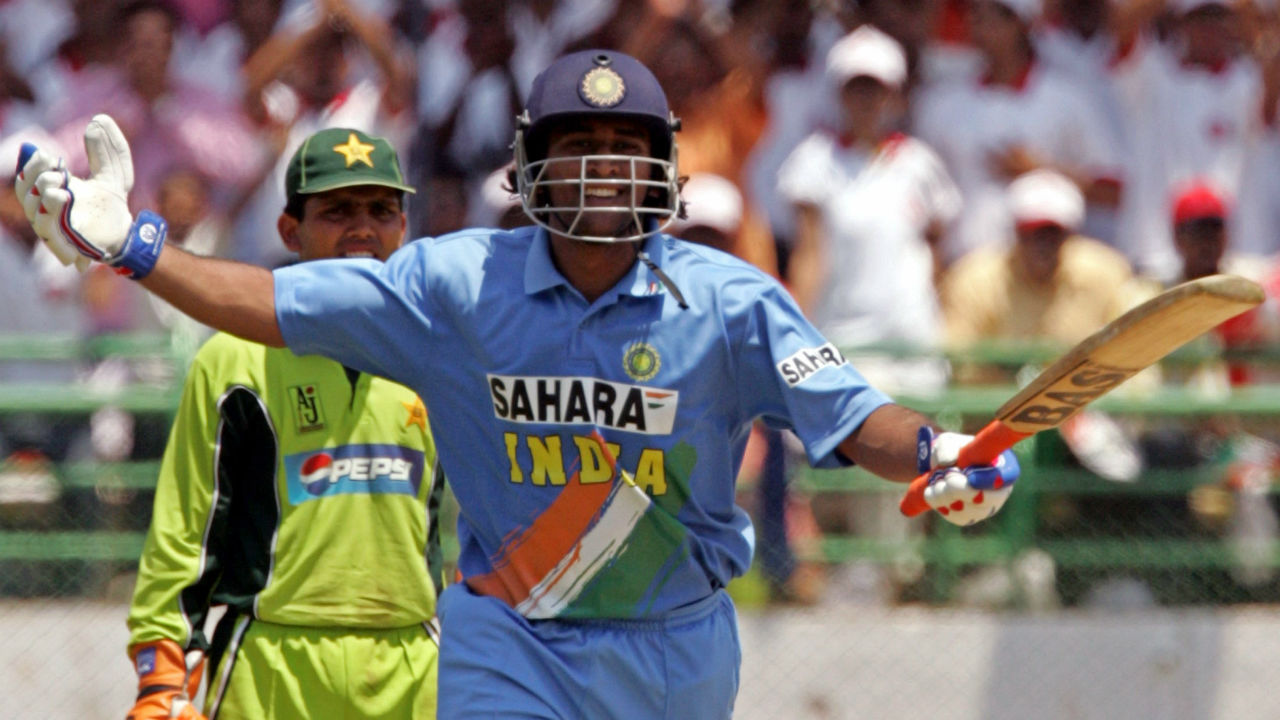 The record for the highest total in an India-Pakistan ODI match belongs to India. The Men in Blue scored 356/9 in the first innings of the 2nd ODI during Pakistan's 2005 tour of India. The match was played on April 5 2005 in Visakhapatnam. MS Dhoni, batting at no.3, announced his arrival to the world by scoring 148 off just 123 balls with 15x4s and 4x6s. India went on to win the match by 58 runs. (Image: Reuters)