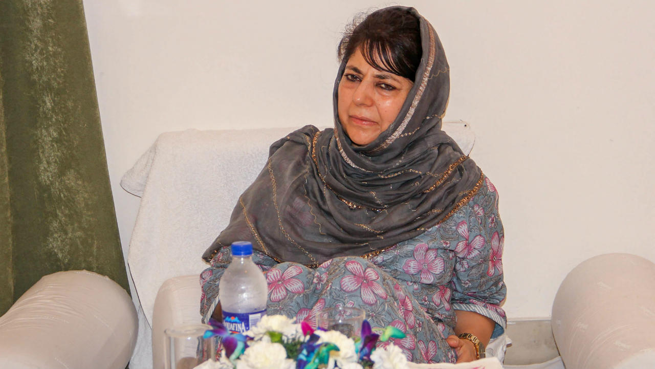 People's Democratic Party (PDP) President and former chief minister Mehbooba Mufti during senior party leader's meeting, in Jammu. (Image: PTI)