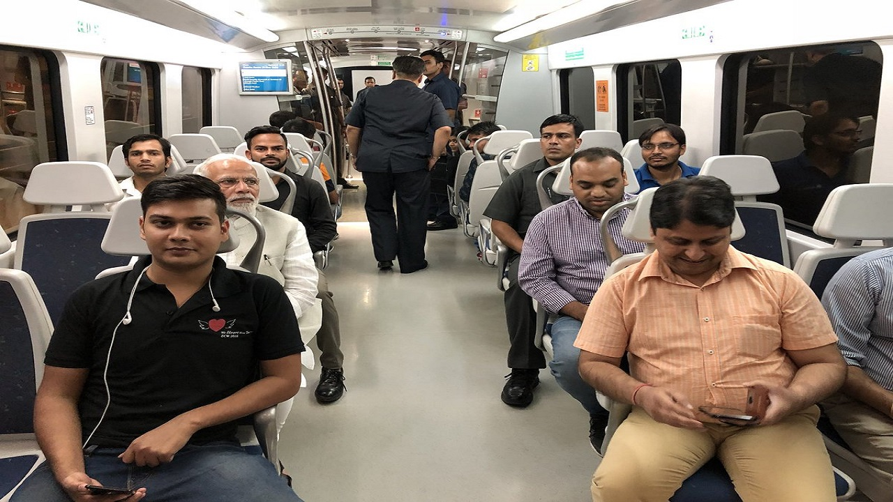 The prime minister's metro ride was completed in 18 minutes. Earlier in July, Modi and South Korean President Moon Jae had taken a metro ride to inaugurate a Samsung facility in Noida. (Image: PMO India, Twitter)
