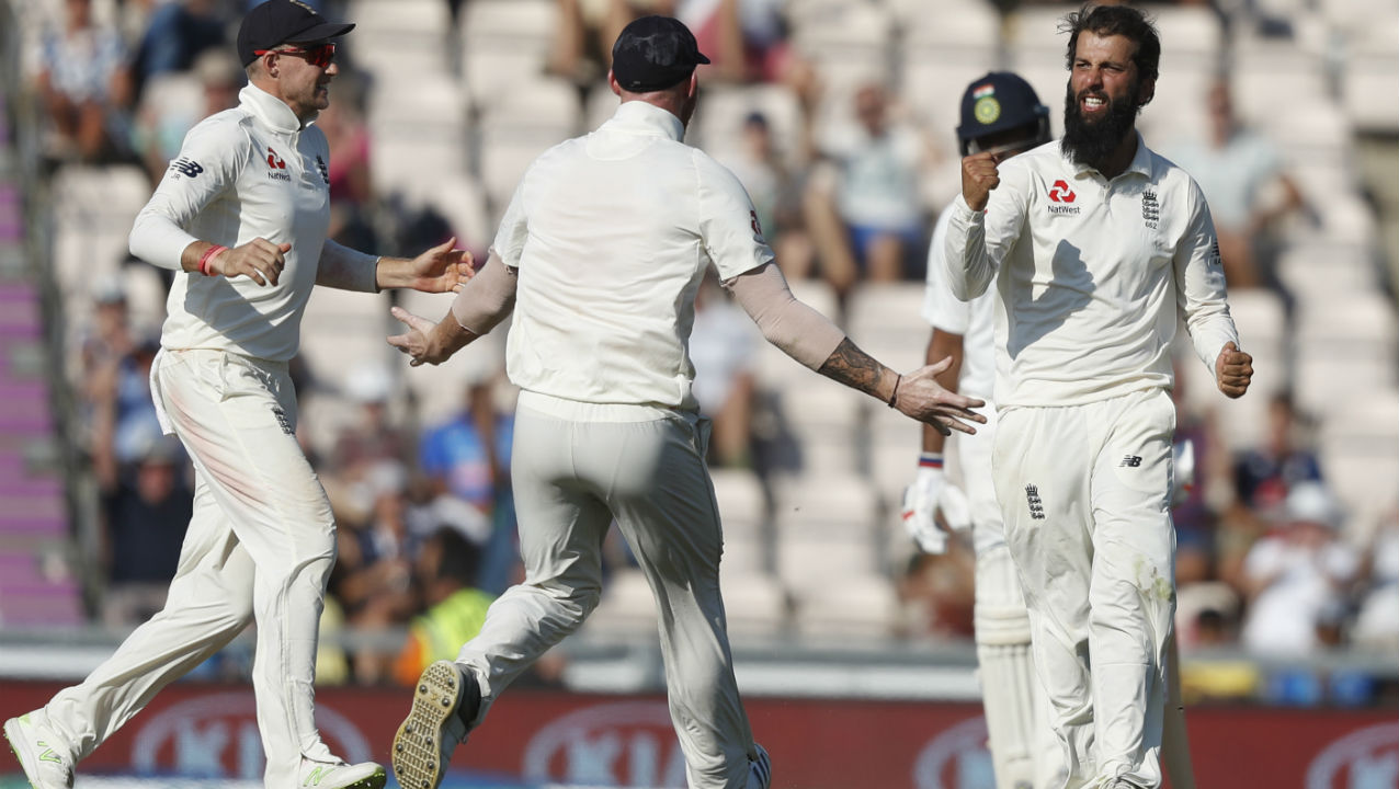 India's chances of survival took a big hit in the 36th over when Ajinkya Rahane who was looking to sweep Moeen Ali for a boundary only connected with the toe end of his bat, sending the ball straight down the throat of Keaton Jennings at midwicket. Rahane was dismissed on 37 runs after facing 106 deliveries. (Image: AP)