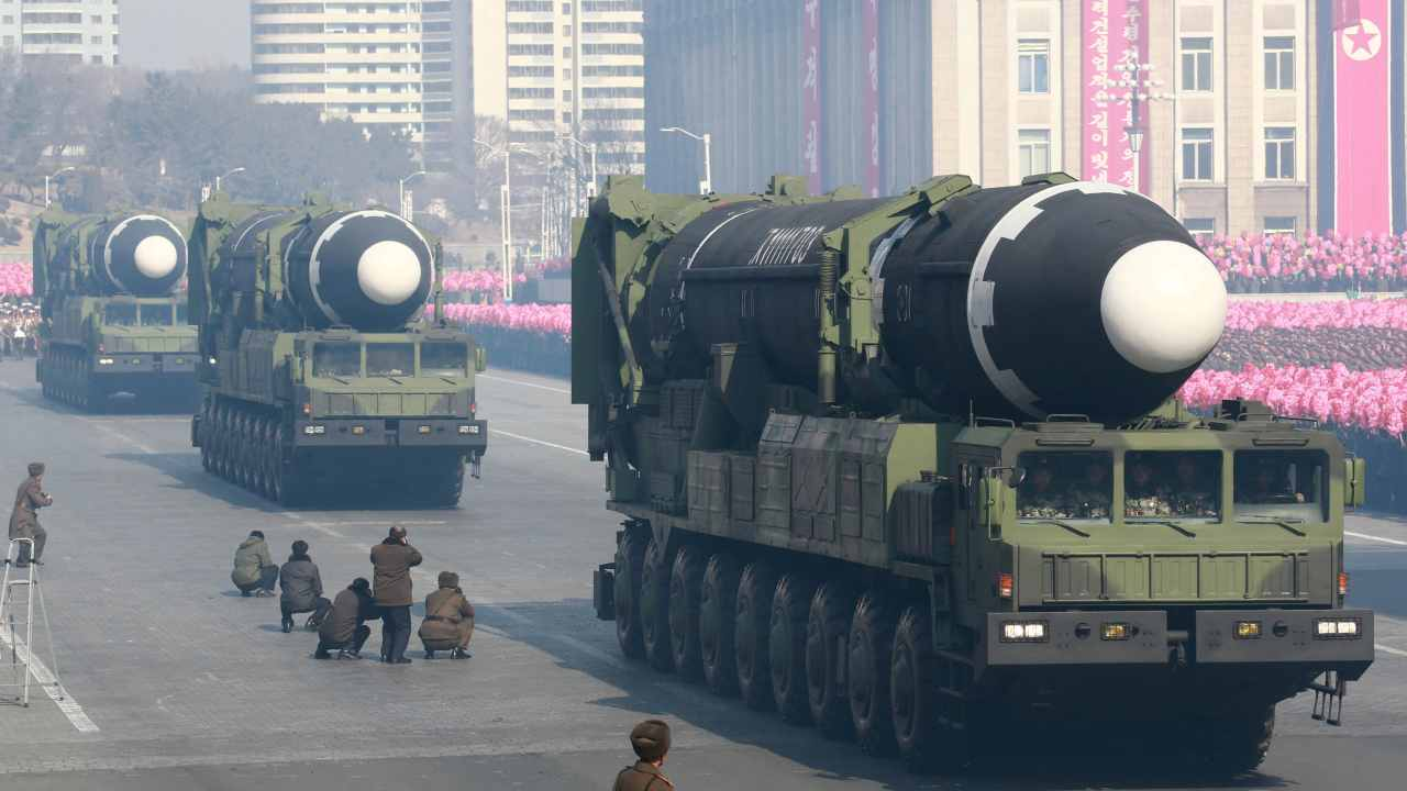 North Korea did showcase a battery of big artillery pieces known as self-propelled guns that could be used to target South Korea's capital, Seoul. However, the missiles displayed were short-range surface-to-surface missiles. The event also featured a surface-to-air missile and an anti-ship cruise missile. (Image: Reuters)