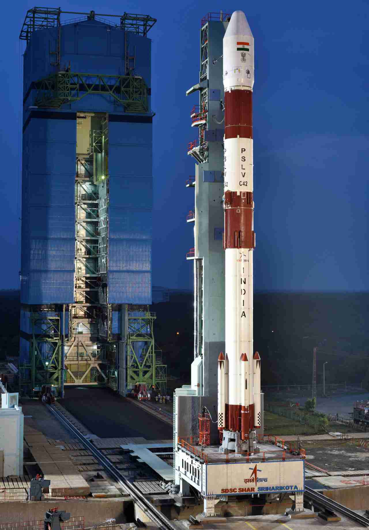 Flying in its core-alone version without six strap-on motors, PSLV-C42 is the lightest version of the PSLV launch system developed by ISRO. It was also the 12th launch of a core-alone version of the PSLV. (Image: ISRO)