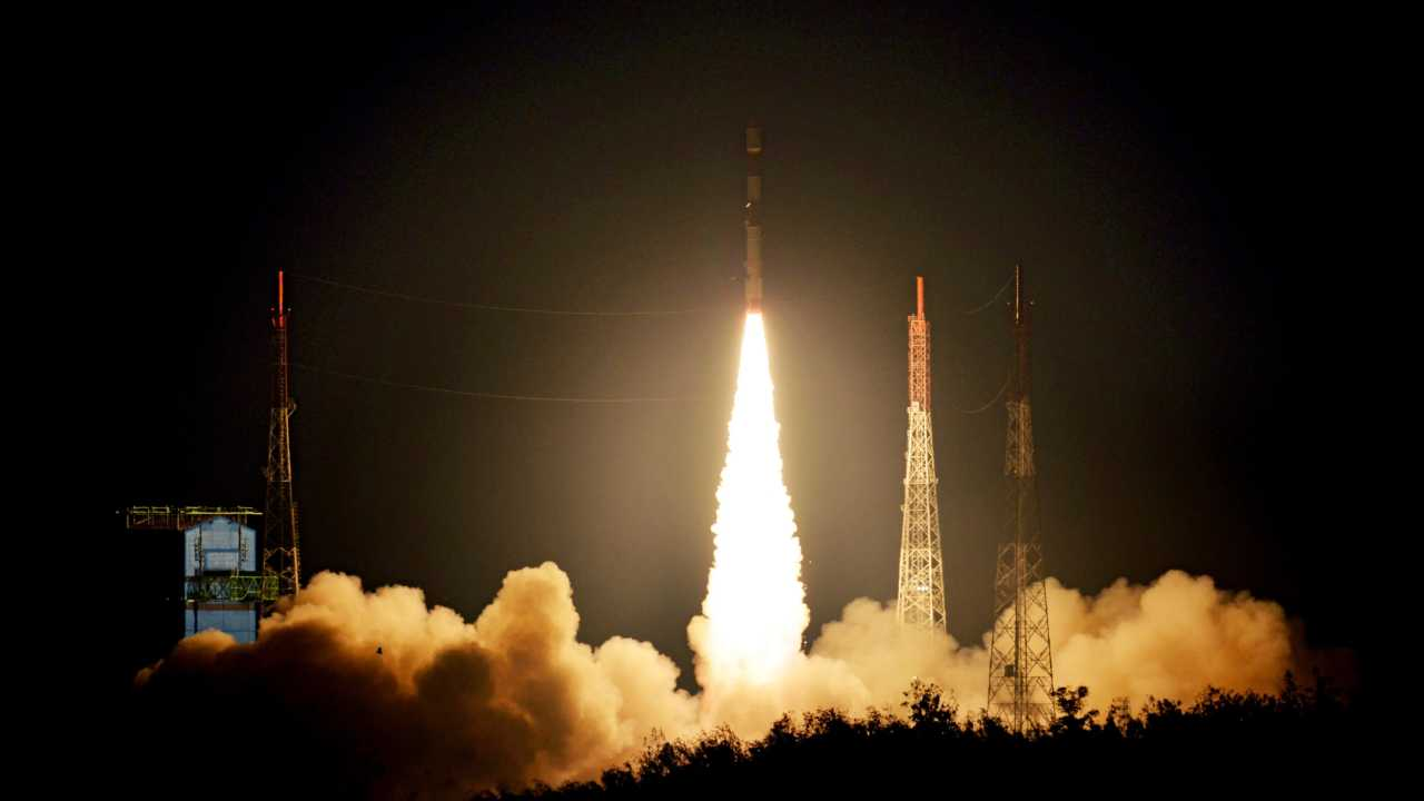 In a textbook launch, the Indian Space Research Organisation (ISRO) launched its 44th Polar Satellite Launch Vehicle (PSLV), carrying two UK earth observation satellites, from Satish Dhawan Space Centre in Sriharikota, Andhra Pradesh. (Image: ISRO)