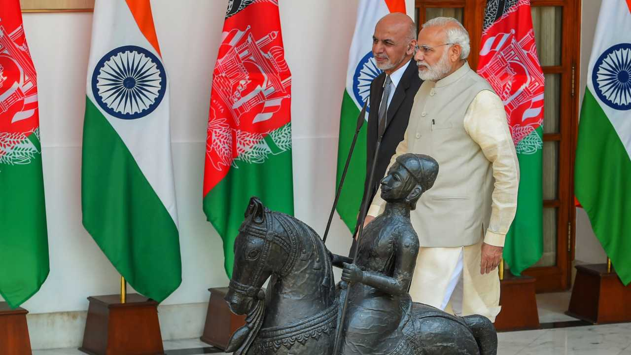 Prime Minister Narendra Modi and Afghanistan President Ashraf Ghani ahead of a meeting at Hyderabad House, in New Delhi. (PTI)