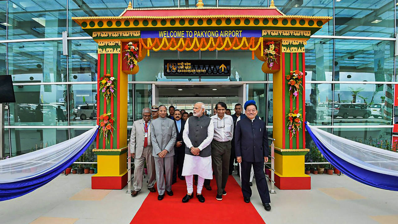 Prime Minister Narendra Modi inaugurates the New Greenfield Airport at Pakyong, in Gangtok, Sikkim. (Image: PTI)