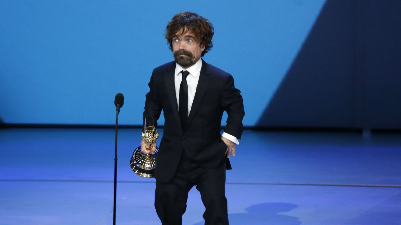Peter Dinklage for Game of Thrones wins the Emmy for Outstanding Supporting Actor in a Drama series, in Los Angeles, US. (Image: Reuters)