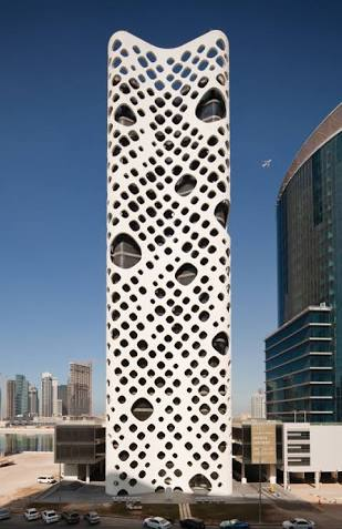 Q16. O14 or O-14 is an office skyscraper located in Business Bay in Dubai. There is a 1 meter space between the facade and the windows which allows hot air to rise and cool air to come in from below. What is the nickname of this building?