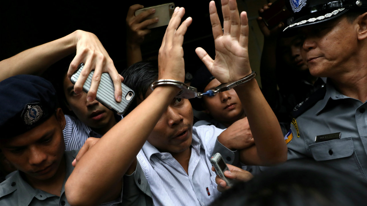 Reuters journalist Kyaw Soe Oo departs Insein court after his verdict announcement in Yangon, Myanmar. (Image: Reuters)