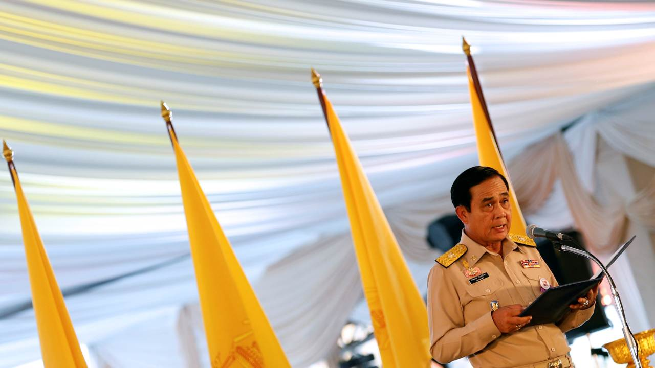 Thailand's Prime Minister Prayut Chan-o-cha gives an opening speech during the dinner for rescue workers and volunteers who participated in the cave rescue earlier this year, in Bangkok, Thailand (Image: Reuters)