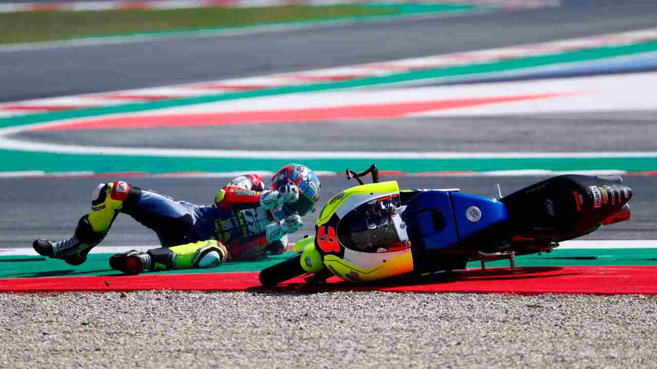 TM Racing Factory 3570 MTA's Kevin Zannoni crashes during a race at San Marino Grand Prix, Italy. (Reuters)