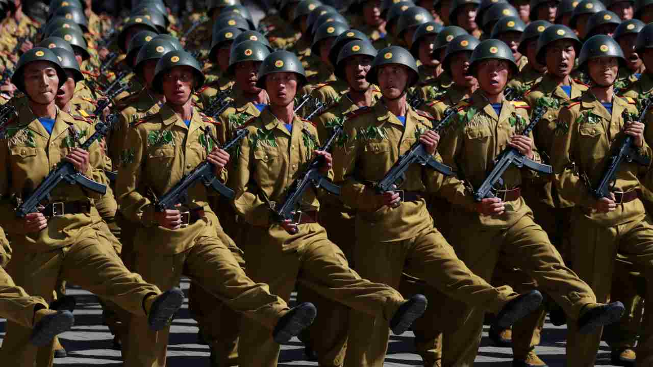 Soldiers march during a military parade marking the 70th anniversary of North Korea's foundation in Pyongyang. (Reuters)