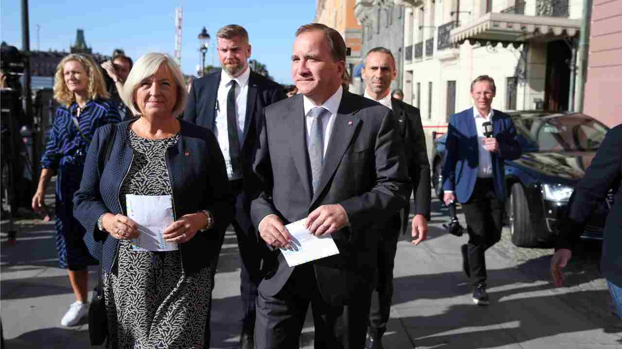 Stefan Lofven, leader of the Social Democratic Party and Prime Minister of Sweden goes to cast his vote on election day alongside with wife Ulla in Stockholm, Sweden. (Reuters)