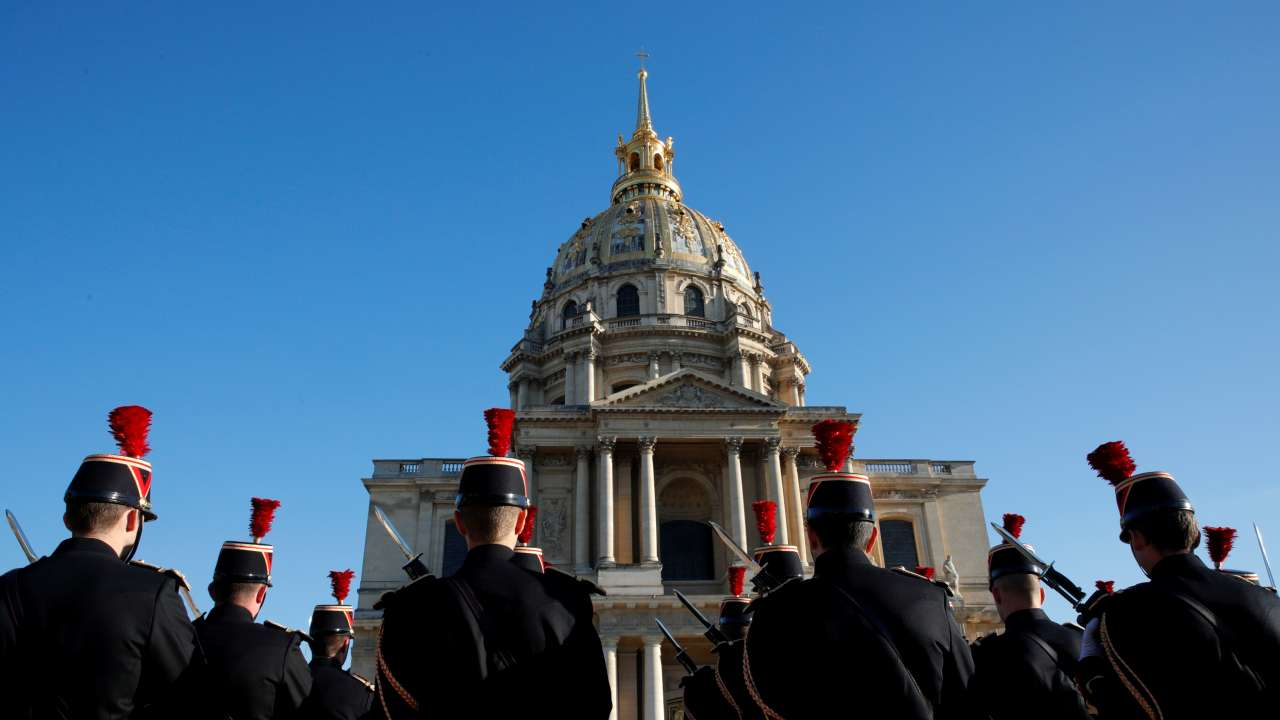 French Republican Guards attend a ceremony before the arrival of Japan's Crown Prince Naruhito at the Hotel des Invalides in Paris, France. (Image: REUTERS)