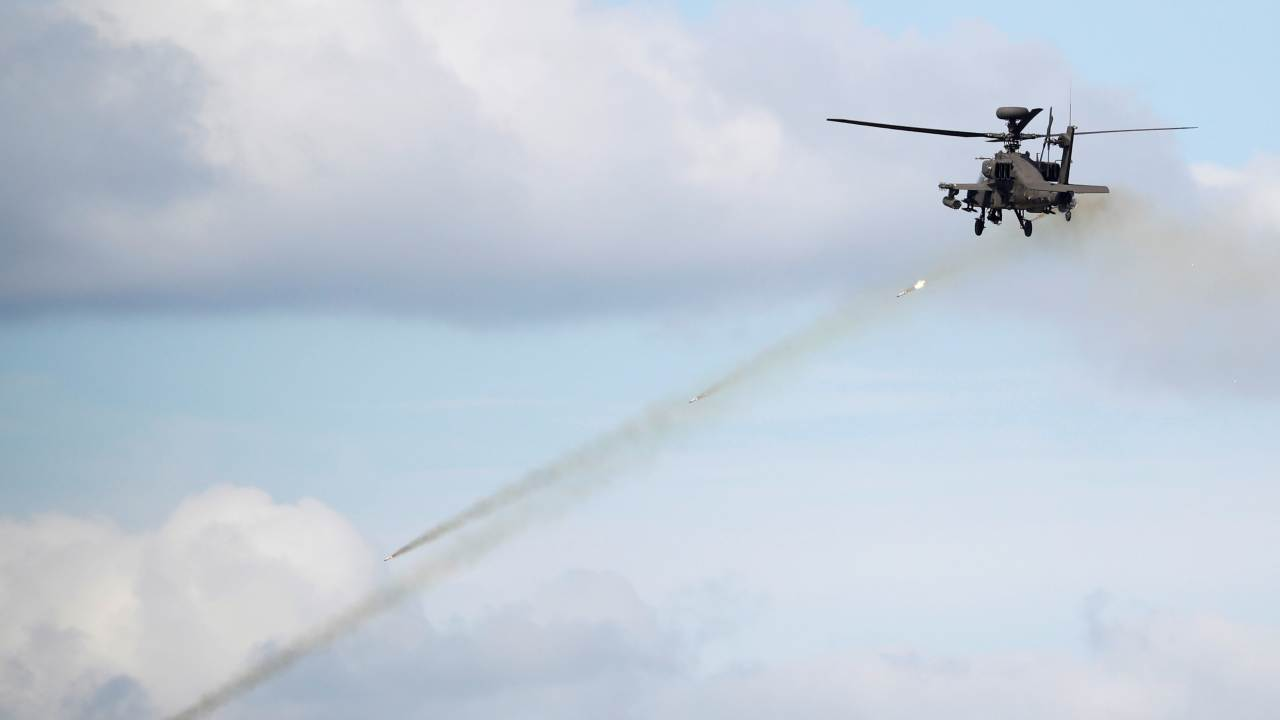 A South Korean army Apache helicopter fires missiles during a demonstration at a media event of 2018 Defense Expo Korea near the demilitarized zone separating the two Koreas in Pocheon, South Korea. (Image: REUTERS)