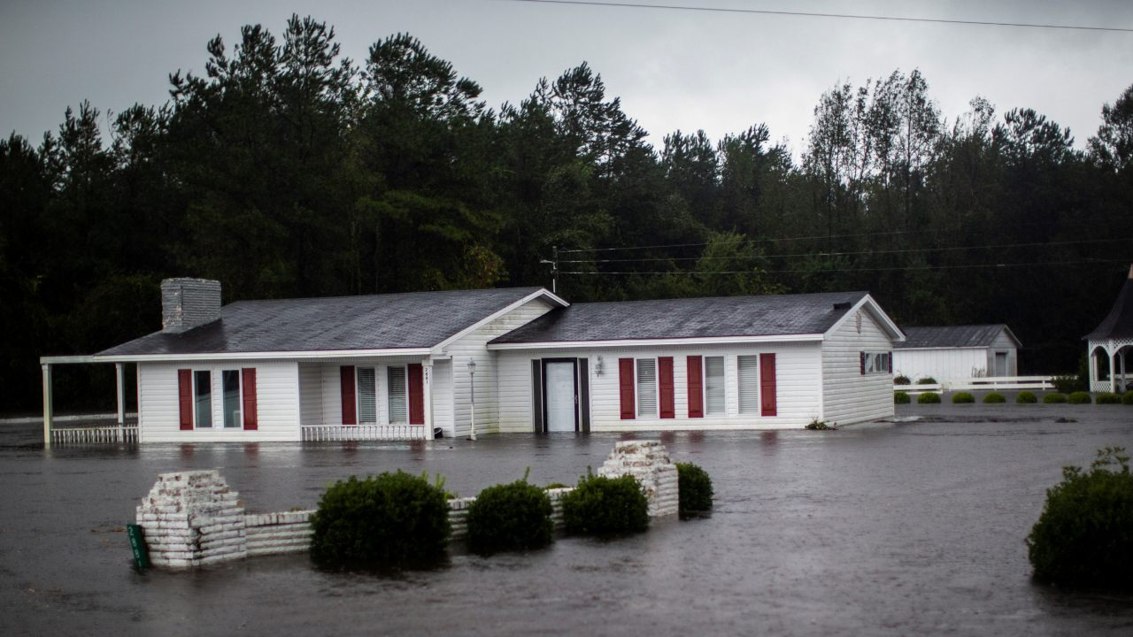 A house is seen flooded by rain after Hurricane Florence swept through the town of Wallace, North Carolina, US. (Image: Reuters)