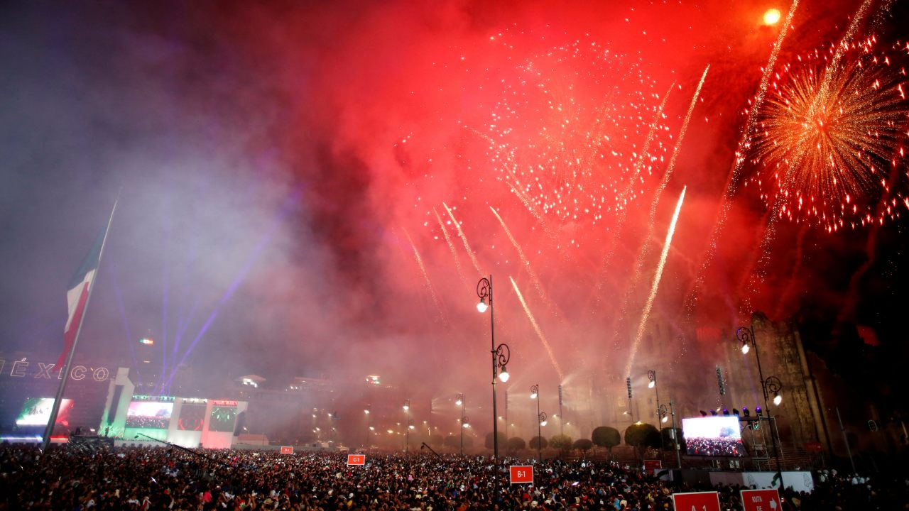 Fireworks are seen at Zocalo square as Mexico marks the 208th anniversary of its independence from Spain in Mexico City, Mexico. (Image: Reuters)