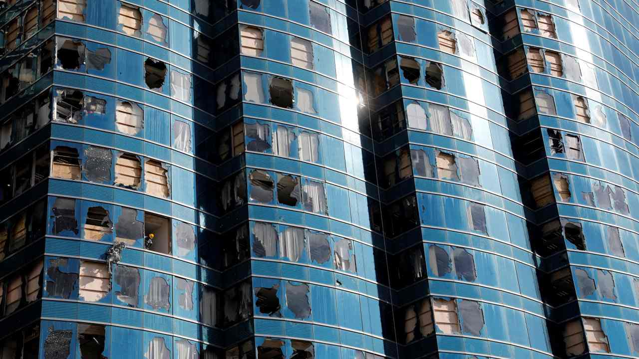 Damaged windows of the One HarbourFront office tower are seen after Super Typhoon Mangkhut hit Hong Kong, China. (REUTERS)