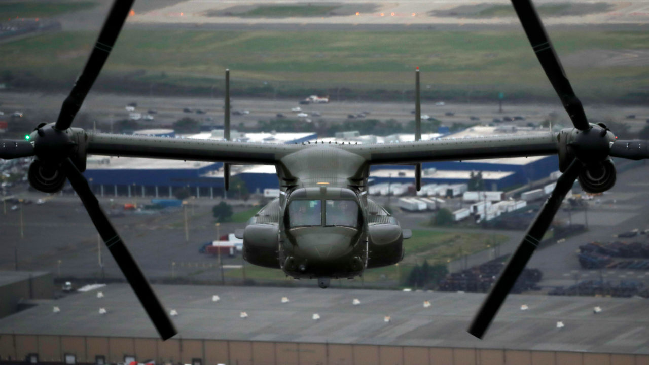 A United States Marines V-22 Osprey helicopter carrying members of the press following President Donald Trump is seen as Trump travelled from New Jersey to Manhattan in New York, US. (Image: Reuters)