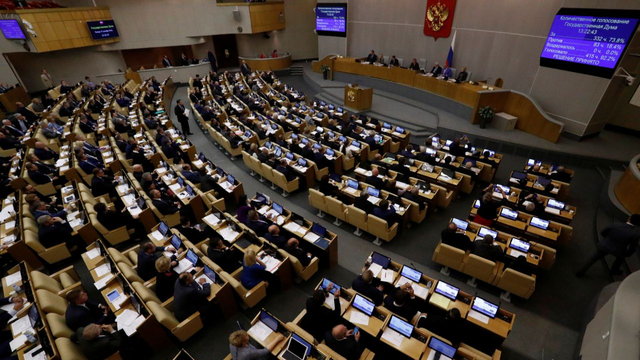 Russian lawmakers attend a session during a vote for the pension reform bill at the State Duma, the lower house of parliament, in Moscow Russia. (Reuters)