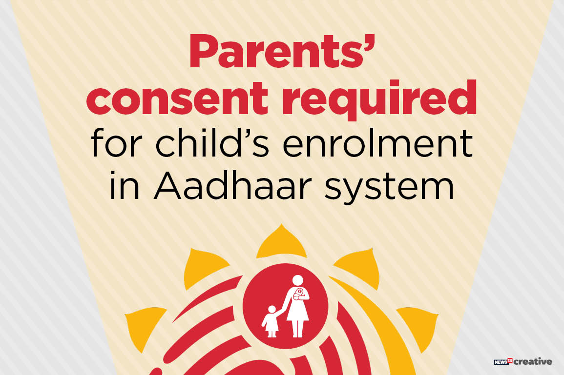 For minors, the express permission of the parents is mandatory for a child's enrollment in the Aadhaar database. Aadhar enrollment drives conducted by the government in schools cannot process the biometric details of children without getting the approval of their parents.