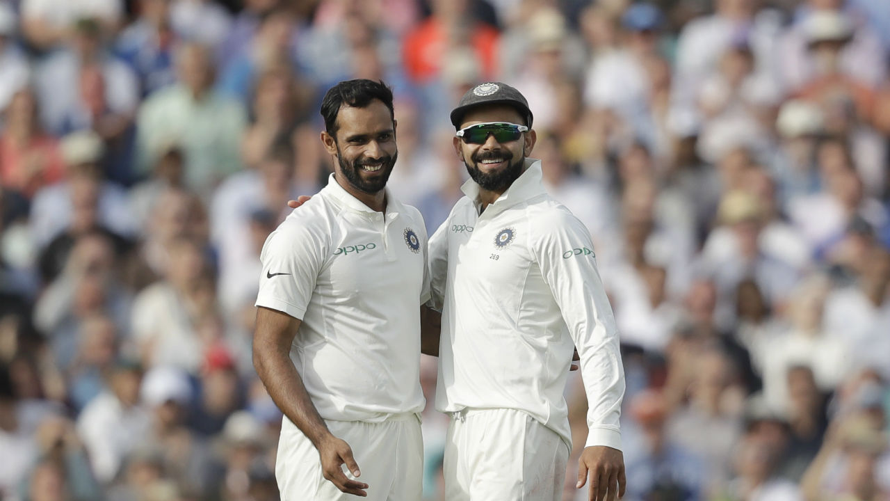 Debutant Hanuma Vihari provided India with a breakthrough when he got Root to mistime his slog sweep with substitute fielder Hardik Pandya taking the catch in the cow corner. (Image: AP)