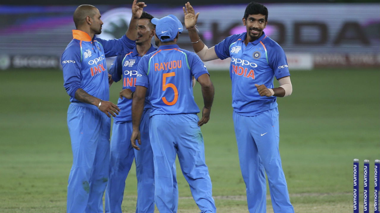 Jasprit Bumrah ended Pakistan's innings when he castled Usman Khan with the very first ball of the 44th over. Pakistan were all-out with just 162 runs on the board. Both Bhuvneshwar Kumar and Kedar Jadhav finished with three wickets each while Bumrah got two and Kuldeep Yadav picked up one. (Image: AP)