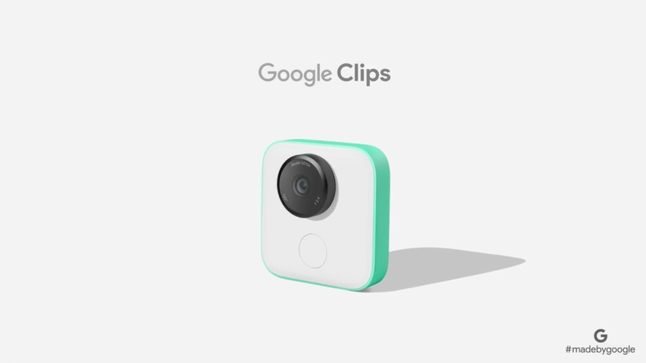 Google Clips | Google brought out a standalone camera called Clips in 2017. It automatically captures photos throughout the day and stitches together a sequence of the best moments. It uses artificial intelligence to look for smiles, identifies the faces of friends, acquaintances, and pets. Google's camera can be attached to any object and can also be used as a hand-held device.