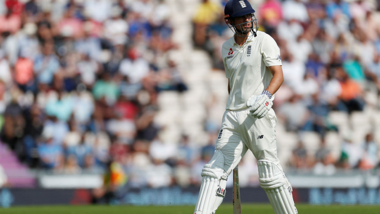 Cook and Jennings gave England a stable start taking the score up to 24 runs after 12 overs. Bumrah was then introduced back into the attack and got the breakthrough in his second over. He sent down a ball that moved away off the seam nicking an edge off Cook's willow before flying to Rahul at second slip. Rahul almost dropped it as he juggled with the ball before finally holding onto the rebound. (Image – Reuters)
