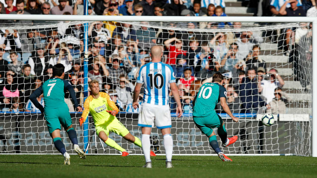 Huddersfield 0 – 2 Tottenham | Harry Kane scored twice in the first-half as Huddersfield, who have yet to win a game this season, moved to the bottom of the premier league table. Kieran Trippier sent in a delightful cross in the 25th minute for Kane to head home and open the scoring. Kane doubled the lead from the spot in the 34th minute after Danny Rose went down inside the area following minimal contact from Florent Hadergjonaj. (Image: Reuters)