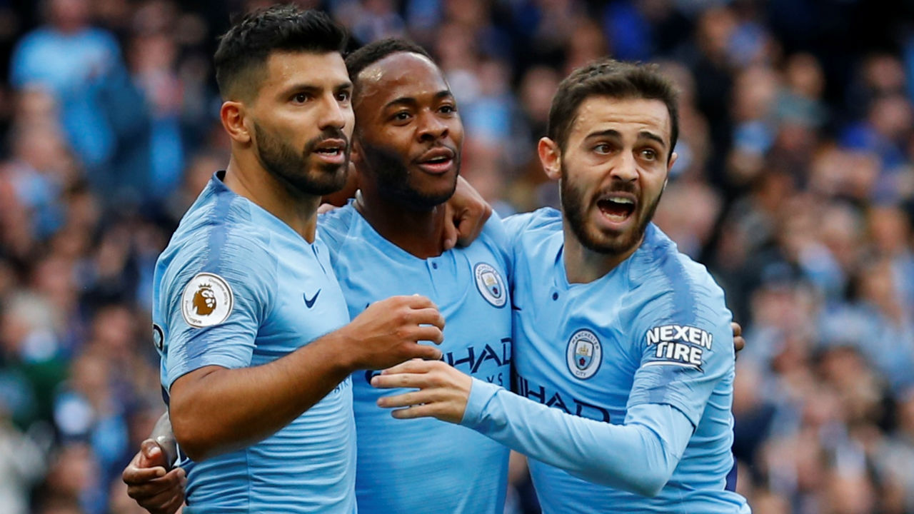 Manchester City 2 – 0 Brighton | City went ahead in the 29th minute when a quick counter-attack culminated in Raheem Sterling turning home Leroy Sane's cross with a sliding finish. Sergio Aguero then went level with Alan Shearer in terms of most Premier League goals scored for a single team when he hit the back of the net in the 65th minute. That strike was Aguero's 148th goal for Manchester City. (Image: Reuters)