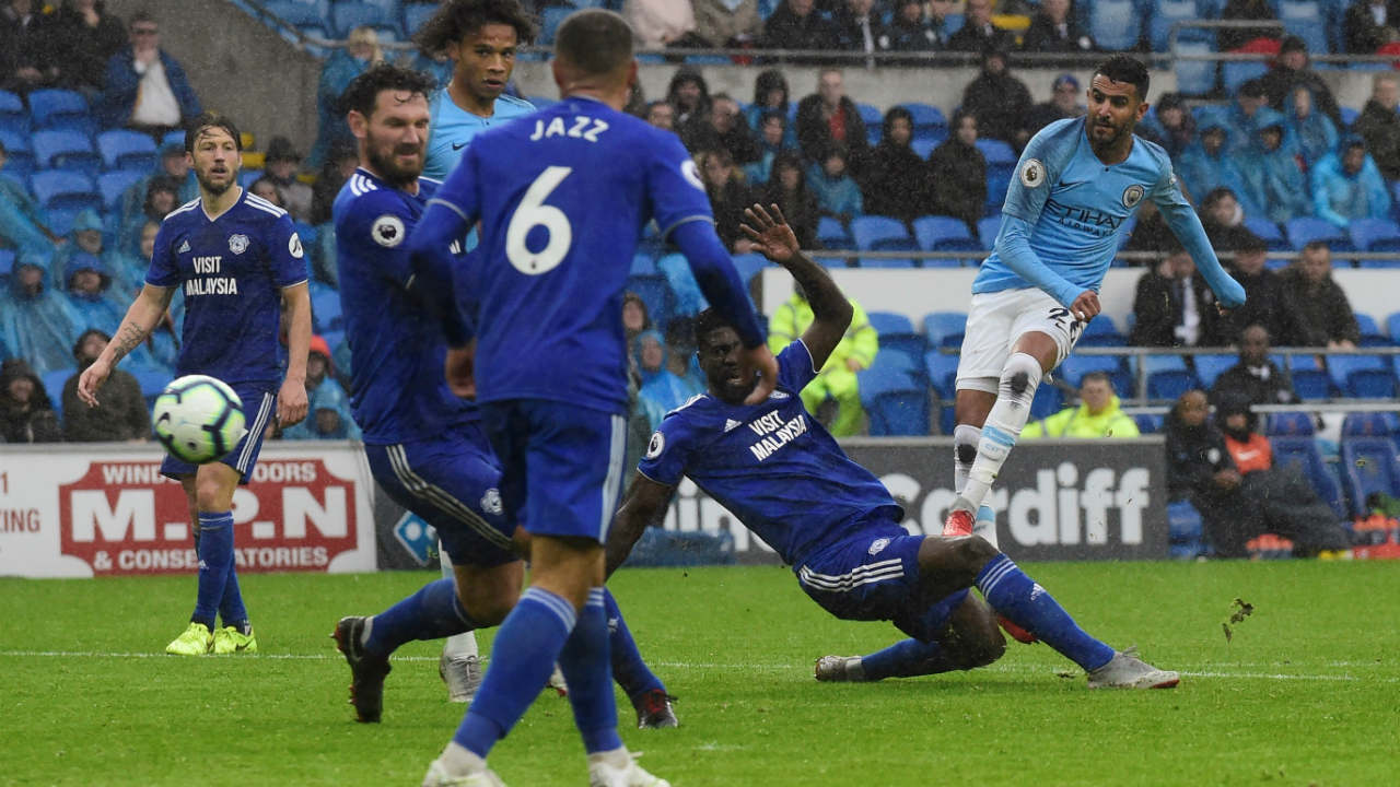 Cardiff City 0 – 5 Manchester City | Riyad Mahrez finally broke his Manchester City duck as he scored twice in an emphatic win at Cardiff City. Sergio Aguero opened the scoring in the 32nd minute with a sweeping finish before Bernardo Silva doubled the lead with a clever header just two minutes later. Ilkay Gundogan scored with a curling shot a minute before the break to give city a 3-0 lead. Mahrez then tapped in his first goal for the club in the 67th minute before whipping in a second from the edge of the area late in the game. (Image: Reuters)