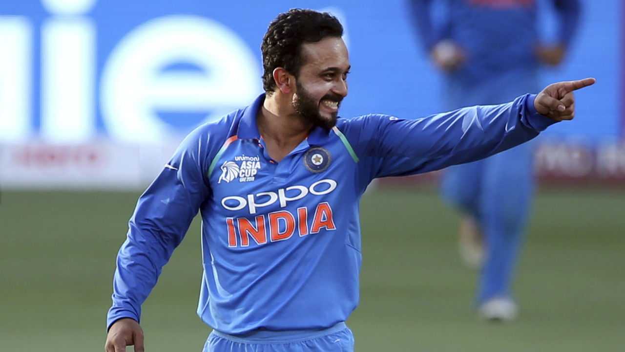Kedar Jadhav provided India with the breakthrough in the 21st over when he got Mehidy Hasan caught at cover-point. Imrul Kayes was next to depart when he was trapped LBW by Chahal in the 24th over. (Image: AP)