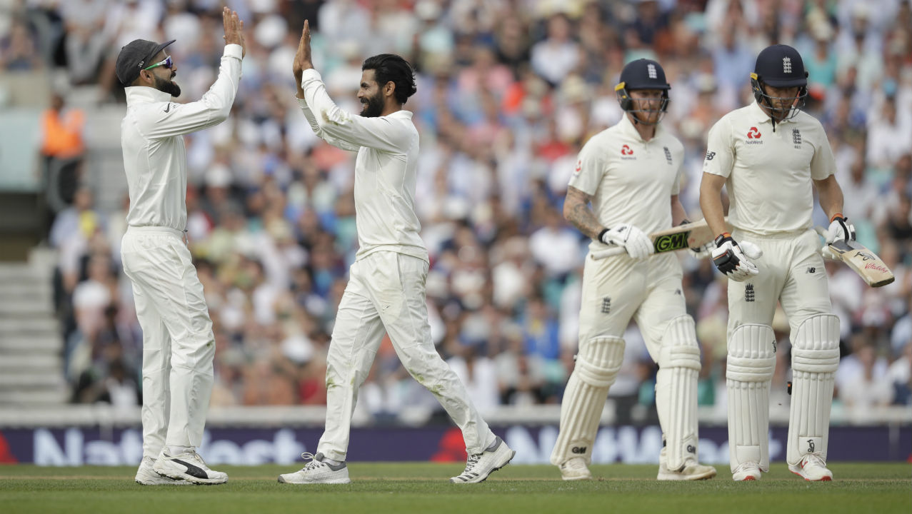 England once again lost two quick wickets when Mohammed Shami castled Jonny Bairstow sending him back with the last ball of the 101st over. Ravindra Jadeja then dismissed Buttler for a duck in the next over as the batsman was looking to go inside-out over the covers but mistimed the shot finding Shami at backward point. (Image: AP)