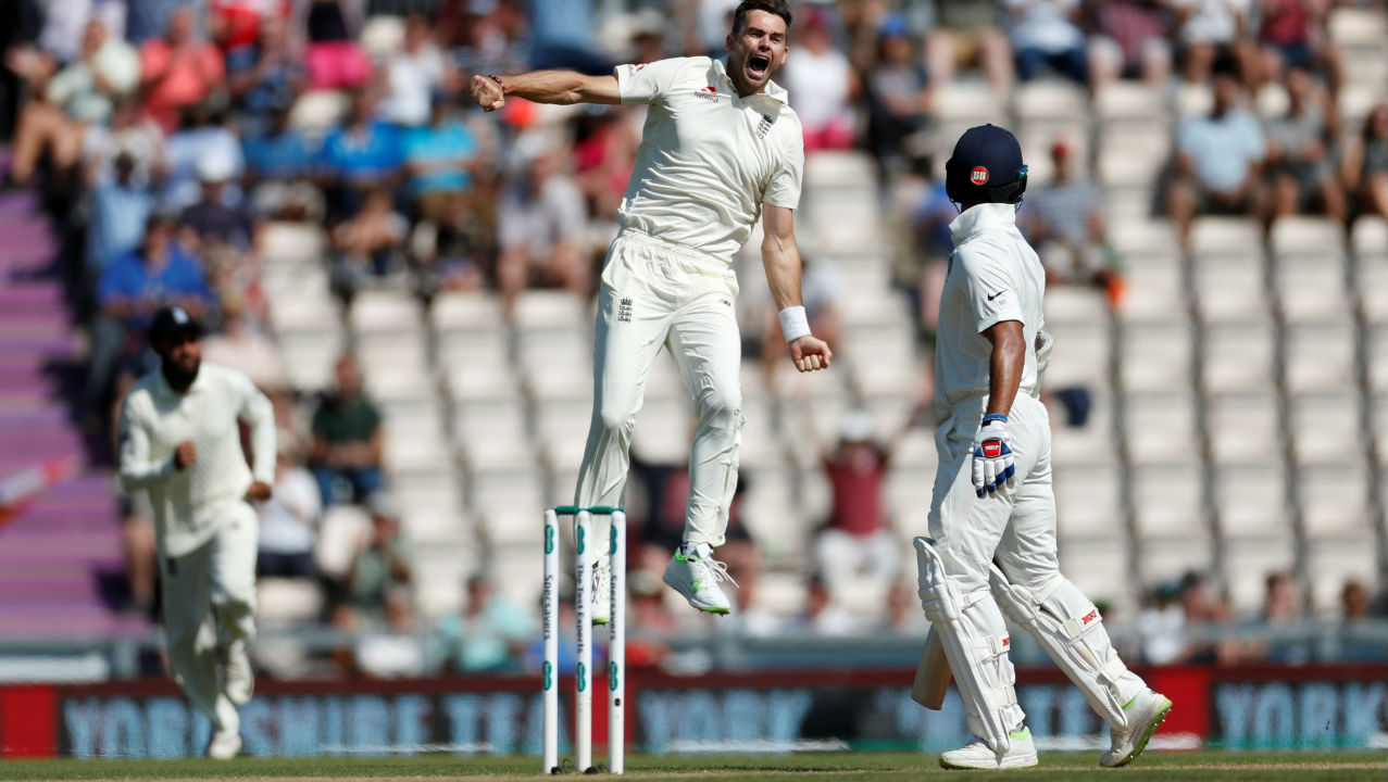 James Anderson then got into the act as he dismissed India's first innings hero Cheteshwar Pujara and opener Shikhar Dhawan in quick succession to leave India reeling at 22/3. Pujara was caught LBW by an inswinging delivery and Dhawan edged one down to Stokes at gully. (Image – Reuters)