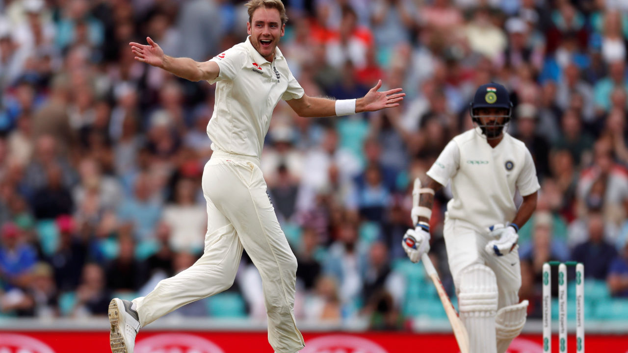 India's innings got off to a horrible start as Broad, fresh from his heroics with the bat, came back to torment India with the ball. He dismissed Shikhar Dhawan with his very first delivery of the day, getting the opener trapped LBW with a full inswinging delivery. (Image: Reuters)