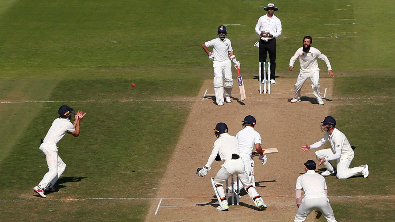 Few minutes before Tea, Moeen Ali got the big breakthrough of Virat Kohli as he got the Indian captain to glove one of his deliveries. Alastair Cook who was standing at short leg took the catch and completed the formalities. (Image - Reuters)