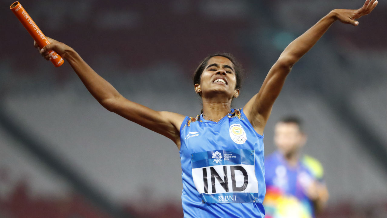 VK Vismaya (Women's 4x400m Relay) | VK Vismaya had just four months of relay training under the national coach before she anchored India to the 4x400m relay gold at the 2018 Asian Games. The 22-year-old had remarkably never participated in a senior competition, even at the district level before her gold medal winning finish at the Asian Games. Vismaya was forced to stop participating in 400m hurdles and focus only in 200m and 400m due to glute muscle pain. She was spotted during an inter-university meet which led to her selection into the senior team and her meteoric rise ever since, saw her represent the country and bring home gold in just her first senior level outing. (Image - AP)