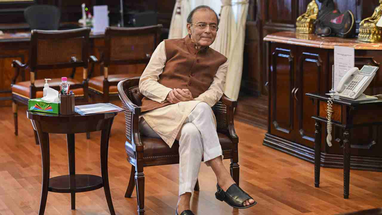 Union Finance Minister Arun Jaitley during a meeting with Malaysian HRD Minister M Quala Segaran (unseen), at his office in New Delhi. (PTI)