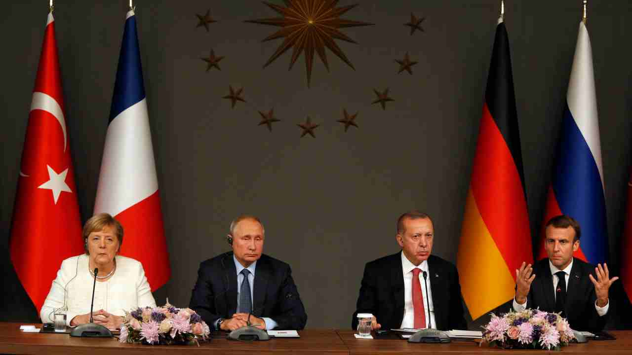 From left, German Chancellor Angela Merkel, Russian President Vladimir Putin,Turkey's President Recep Tayyip Erdogan and French President Emmanuel Macron attend a news conference following their summit on Syria, in Istanbul. (AP/PTI)