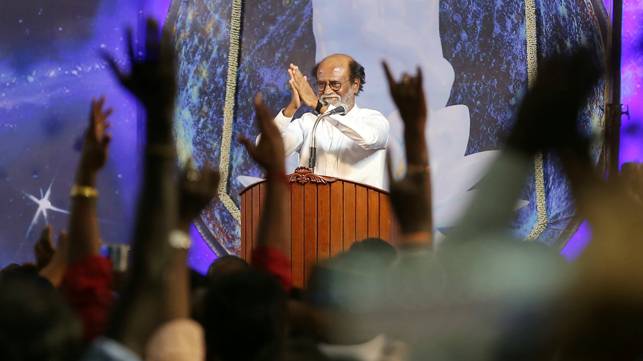 Actor Rajinikanth greets his supporters after announcing the launch of his political party in Chennai on December 31, 2017. (Image: Reuters)